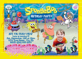 Spongebob Squarepants Invitation, Patrick Party Invite