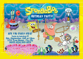 Spongebob Squarepants Invitation, Spongebob Birthday Party Invite