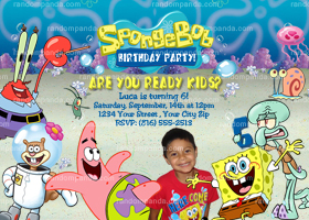 Spongebob and Patrick Invitation, Spongebob Squarepants Party Invite