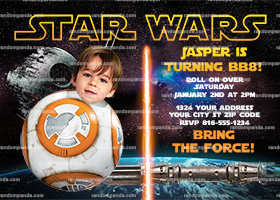 Personalize Star Wars Invitation, Be BB8 Party, Star Wars Birthday Invite