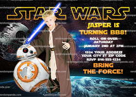 Personalize Star Wars Invitation, BB8 Party, Star Wars Birthday Invite