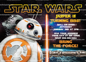 Star Wars Invitation, BB8 Party, Star Wars Birthday Invite