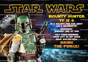 Star Wars Invitation, Boba Fett Party, Star Wars Birthday Invite