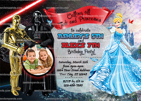 Personalize Star Wars and Cinderella Invitation, Twins Invite