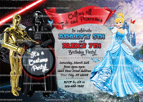 Star Wars and Cinderella Invitation, Darth Vader CP30 Twins Invite