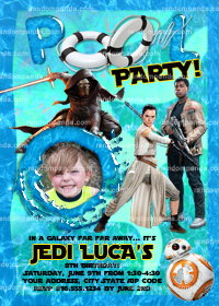 Star Wars invitation, Finn Swimming Pool Party, Force Awakens Invite