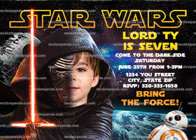 Personalize Force Awakens Invitation, Kylo Ren Party, Star Wars Birthday Invite