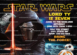 Force Awakens Invitation, Kylo Ren Party, Star Wars Birthday Invite