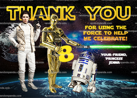 Star Wars Thank You Card, Princess Leia Thanks, R2D2 Thank You Note