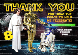 Star Wars Thank You Card, R2D2 Thanks, Princess Leia Thank You Note