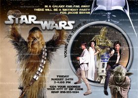Star Wars Invitation, Chewbacca Birthday, Star Wars Party Invite