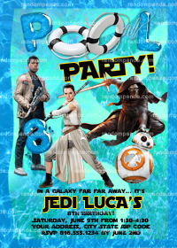 Star Wars invitation, Kylo Ren Swimming Pool Party, Force Awakens Invite