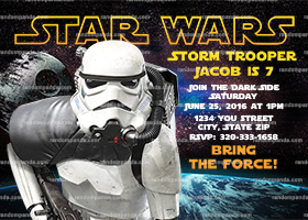 Star Wars Invitation, Stormtrooper Party, Star Wars Birthday Invite