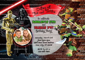 Teenage Mutant Ninja Turtles invite, Twins Party, Star Wars Invitation