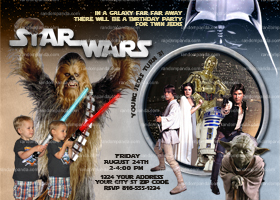 Star Wars Twins Invitation, Chewbacca Party, Star Wars Invite