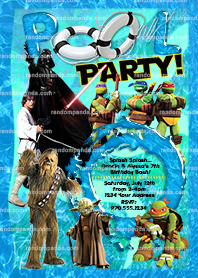 Ninja Turtles invite, Twins Pool Party, Star Wars TMNT Party Invitation