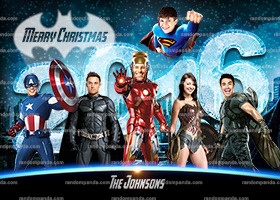 Personalize Funny Christmas Holiday Card, Superhero Family Portrait