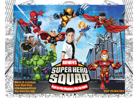 Superhero Squad Invitation, Superhero Squad Party, Superhero Invite