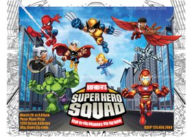 Superhero Squad Invitation, Superhero Squad Party Invite