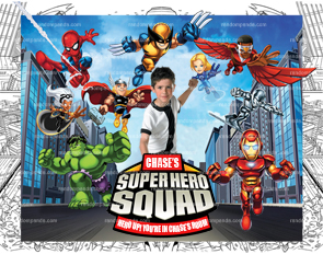 Personalize Superhero Squad Poster, Superhero Wall Art, Kids Room
