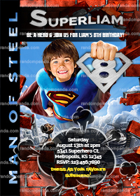 Superman Invitation, Personalize Marvels Party, Superman Birthday Invite