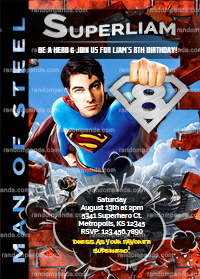 Superman Invitation, Man of Steel Party, Superman Birthday Invite