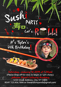 Personalize Sushi Invitation, Sushi Birthday Party Invite