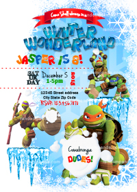 Winter Wonderland invitation, Teenage Mutant Ninja Turtles Party, TMNT Snowball Fight Invite