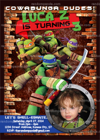 Teenage Mutant Ninja Turtles Invitation, TMNT Party Invite