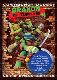 Teenage Mutant Ninja Turtles Invitation, TMNT Birthday Party Invite