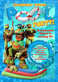 DIY Mutant Ninja Turtles Invitation, TMNT invite, TMNT Pool Party