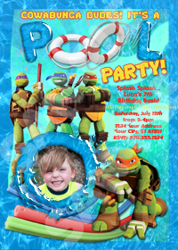 Mutant Ninja Turtles Invitation, TMNT Pool Party, TMNT invite