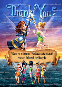 Tinkerbell and the Pirate Fairy Thank You Card, Tinkerbell Party Thank you Note