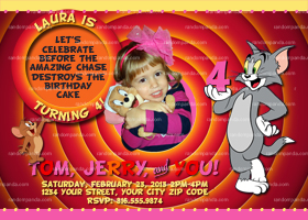 Tom and Jerry Invitation, Pink Tom and Jerry Party Invite