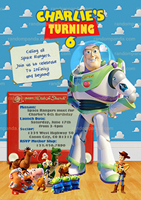 Toy Story Invitation, Buzz Lightyear, Buzz Birthday Party Invite