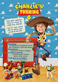 Personalize Toy Story Invitation, BE Woody Cowboy, Roundup Party Invite