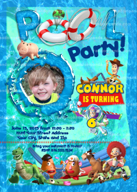 Personalize Toy Story invitation, Buzz Lightyear Swimming Pool Party invite
