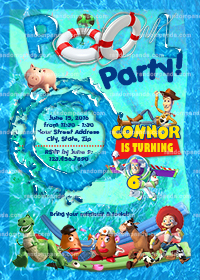 Toy Story invitation, Buzz Lightyear Swimming Pool Party invite