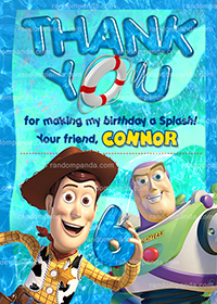 Toy Story Thank You Card, Pool Party, Buzz Lightyear Thanks Note