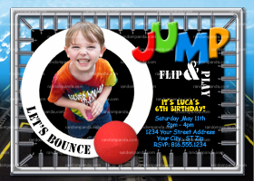 Trampoline Invitation, Bounce and Jump Party, Trampoline Invite