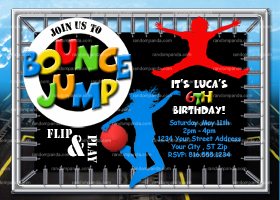 Trampoline Invitation, Bounce and Jump Invite, Trampoline Party