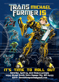 Personalize Transformers Invitation, BE Bumblebee Birthday Party Invite
