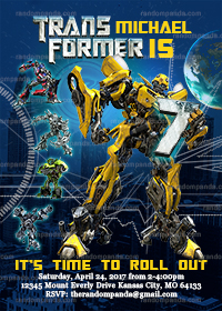 Transformers Invitation, Bumblebee Birthday Party Invite