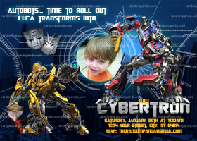 Transformers Invitation, Optimus Prime Party, Bumblebee Invite
