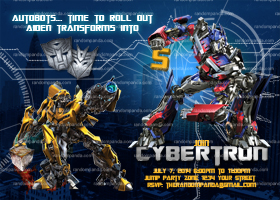Transformers Invitation, Transformers Party, Optimus Prime Invite