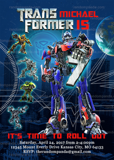 Transformers Invitation, Optimus Prime Birthday Party Invite