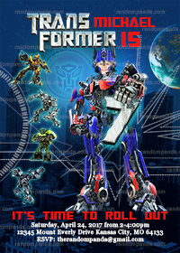 Personalize Transformers Invitation, BE Optimus Prime Birthday Party Invite