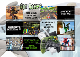 Video Gaming Invitation, Choose games, Video Gamer Party Invite