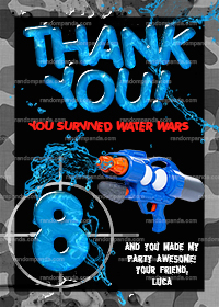 Water Wars Thank You Card, Splash Party, Water Squirt Gun Thanks Note