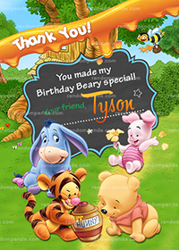 Winnie and the Pooh Baby Thank You Card, Tigger Birthday Party Thanks